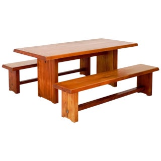 Model T14c Dining Table and Benches by Pierre Chapo For Sale