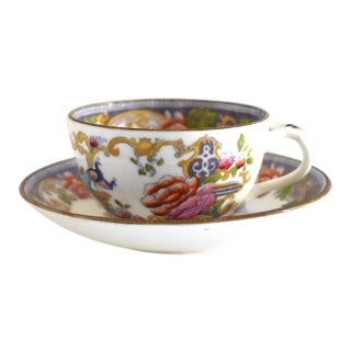 Antique 19th Century Lavender Transferware Teacup & Saucer - a Pair For Sale