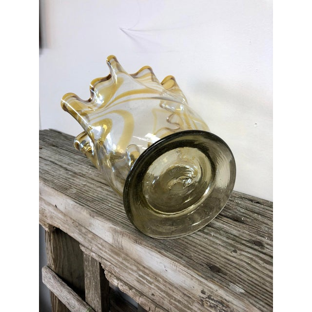 Large Hand Blown Art Glass Urn For Sale - Image 4 of 5