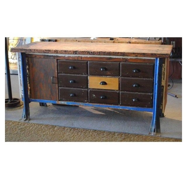 Vintage Wood Workbench Table or Console - Image 4 of 9