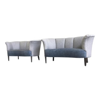 Slagelse Mobelvaerk Reupholstered Danish Channel-Back Settees - A Pair