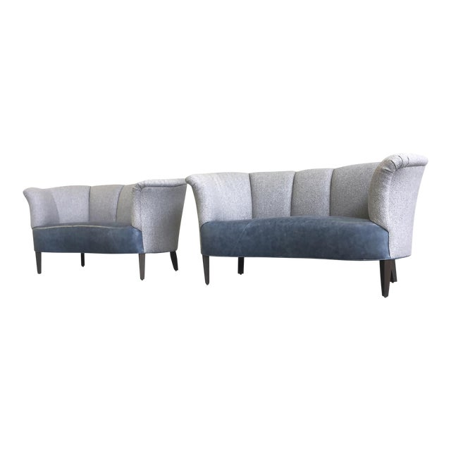 Slagelse Mobelvaerk Reupholstered Danish Channel-Back Settees - A Pair For Sale