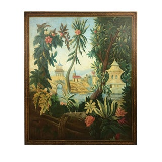Vintage English Chinoiserie Painting of Garden Paradise