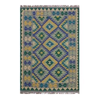 Kilim Althea Hand-Woven Wool Rug -3′5″ × 4′11″ For Sale