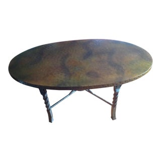 Arhaus Style Copper Top & Iron Coffee Table