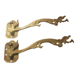 1920s Antique Chinese Dragon Bronze/Brass Swivel Hooks - a Pair For Sale