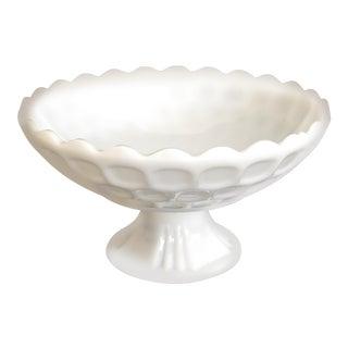 Large Vintage 1930s Westmoreland Milk Glass Pedestal Bowl For Sale