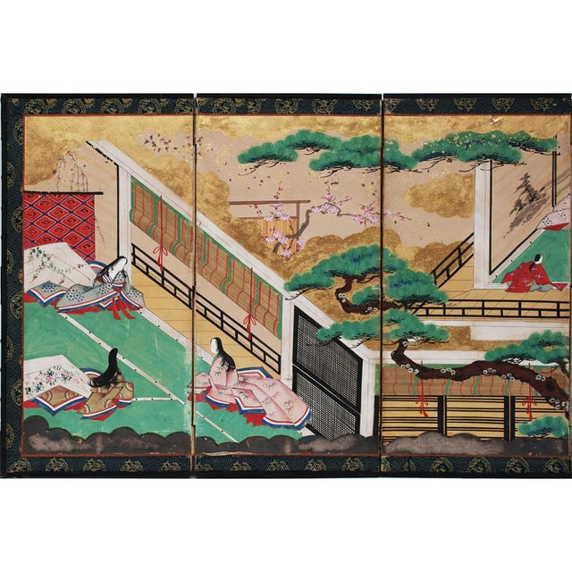 Asian 17th C. Japanese the Tale of Genji Byobu Screen For Sale - Image 3 of 13