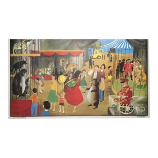 "Vintage French School ""La Menagerie/Le Stade"" Two-Sided Poster For Sale"