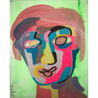 "Contemporary Abstract Portrait Painting ""I Love This One"" For Sale"