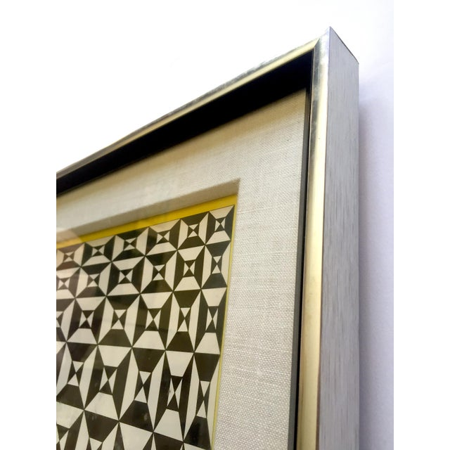 """Edna Andrade Rare Vintage 1969 Mid Century Modern Framed Op Art Lithograph Print """" Black Diamond """" 1967 For Sale In Kansas City - Image 6 of 13"""