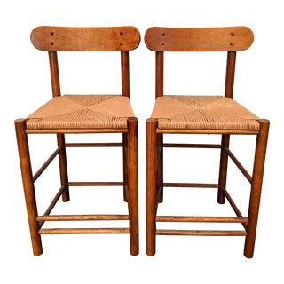 "Boho Chic Organic Danish Modern Teak + Rush ""Counter"" Stools, a Pair For Sale"