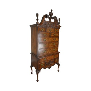 Wright Table Company Limited Edition Mahogany Carved Ball & Claw Chippendale Highboy For Sale