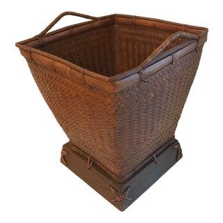 Vintage Large Wicker Planter Basket For Sale