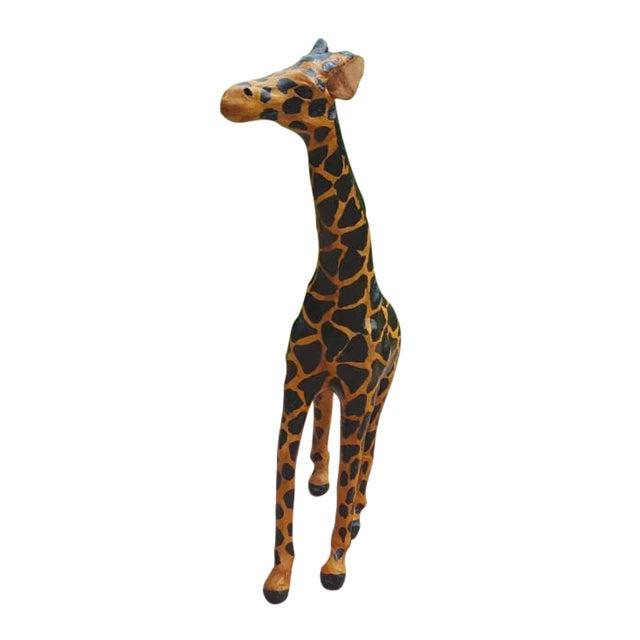 Handmade Paper Mache & Leather Giraffe Sculpture For Sale
