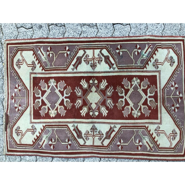 Textile 1970s Vintage Turkish Oushak Handmade Small Rug - 2′8″ × 4′2″ For Sale - Image 7 of 11