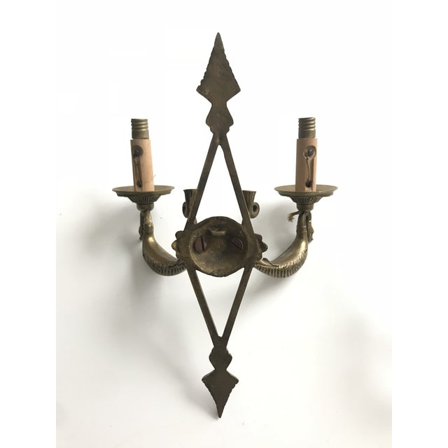 Brass Pair of Antique French Brass Sconces For Sale - Image 7 of 8