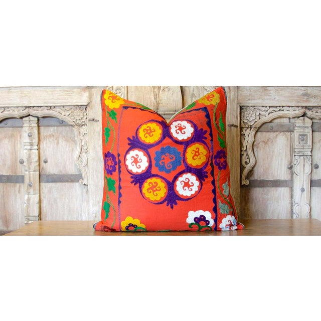 19th Century Bostan Suzani Throw Pillow For Sale - Image 5 of 6