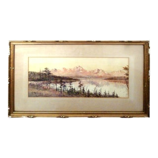 1903 Antique Mountain Lake Watercolor Painting For Sale