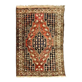 Vintage Persian Mazlagan Wool Rug-4′2″ × 5′ For Sale