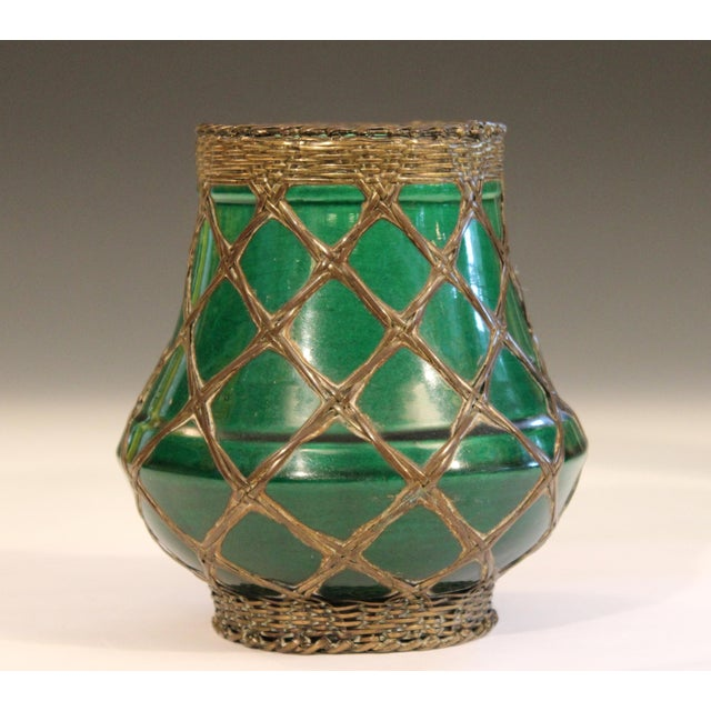 Green Antique Awaji Pottery Bronze Wrapped Artist's Brush Pot Vase Zen Ikebana For Sale - Image 8 of 10