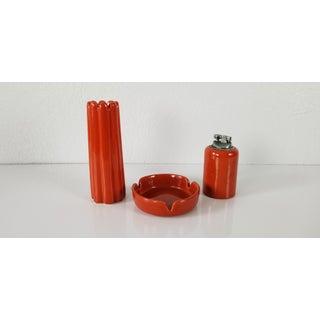 1970's Vintage Jaru Art Pottery Ashtray, Lighter, and Vase - Set of 3 Preview