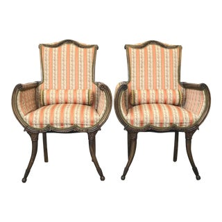 Saber Leg Hollywood Regency Walnut Fireside Chairs - a Pair For Sale