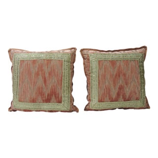 Pair of Dusty Pink and Silver Flame Stitch Silk Velvet Decorative Pillows For Sale