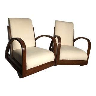 Bentwood Art Deco Upholstered Armchairs - A Pair