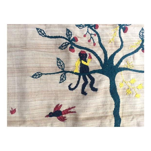 Naga Hill Tribe Primitive Embroidered Story Throw For Sale - Image 4 of 5