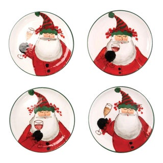 Kenneth Ludwig Chicago Old St. Nick Cocktail Plate Set - Set of 4 For Sale