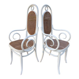 Vintage 1960s White Bentwood Thonet Cane Tall Back Side Chairs - a Pair For Sale