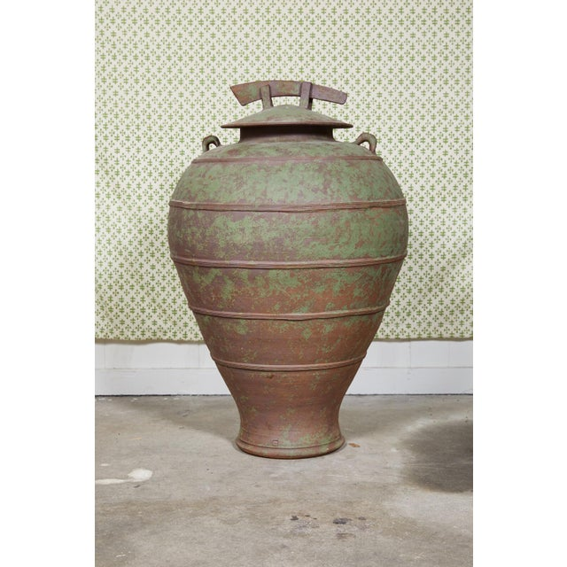 Rustic European Urn Shaped Clay Jar With Lid, Stamped For Sale - Image 3 of 10