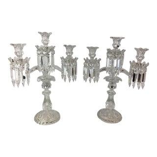 Baccarat 3 Light Candelabras - a Pair For Sale