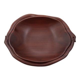 Large Vintage 1970s Hand Carved Wooden Ouroboros Snake Bowl For Sale
