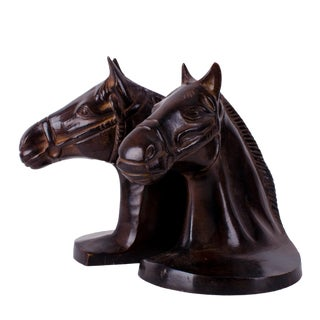Vintage Mid-Century Bronzed Horse Bookends - A Pair For Sale