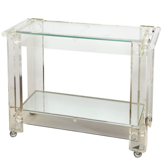 1970s Modern Lucite Mirrored and Glass Two-Tier Bar Cart or Trolley For Sale - Image 10 of 10