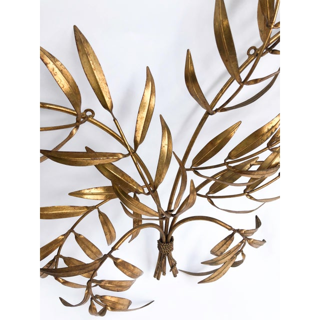 Vintage Italian Gilded Tole Leaves Wall Sculpture For Sale In New York - Image 6 of 9