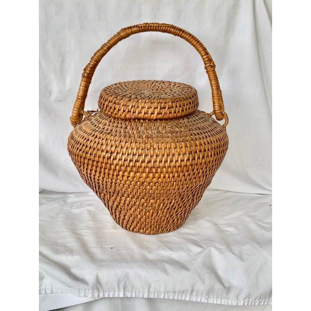 Rustic Vintage Large Lidded Basket For Sale - Image 3 of 13