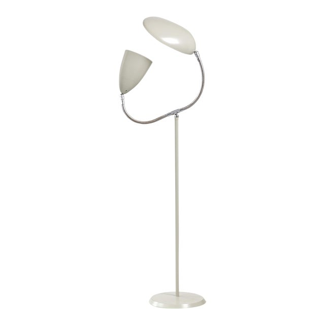 "Floor lamp with one cone shade and one ""Cobra"" shade For Sale"