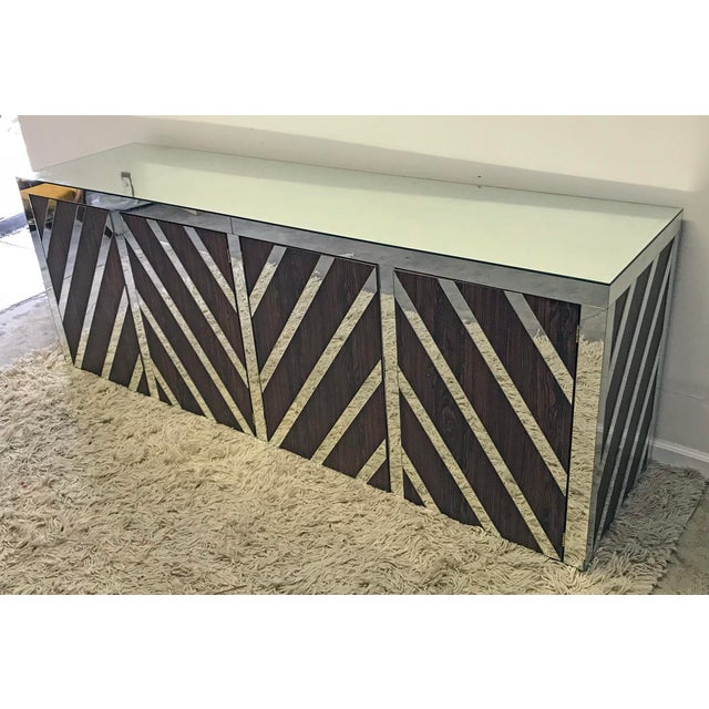 Contemporary Rosewood and Mirrored Credenza For Sale - Image 3 of 6