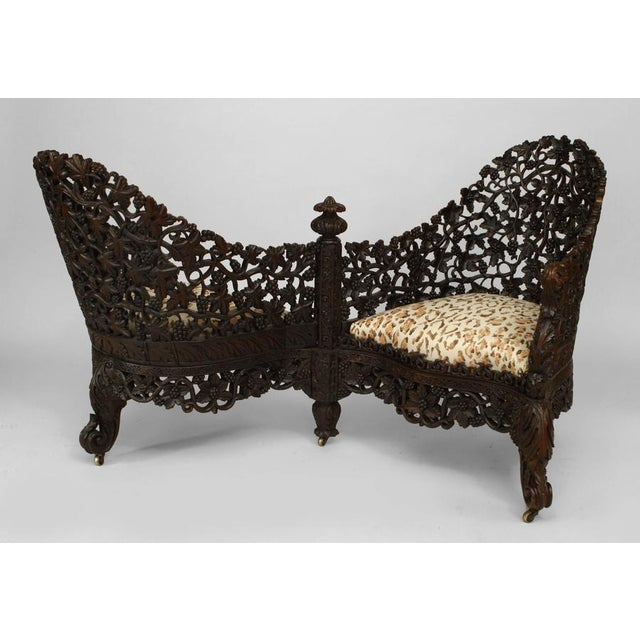 Black Asian Burmese Style Carved and Filigree Rosewood Tete a Tete For Sale - Image 8 of 8