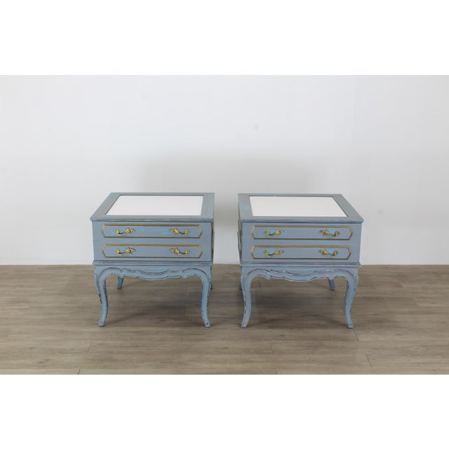 French Mid-Century French Provincial Nightstands, a Pair - Vintage Nightstands - Gray Nightstands - Shabby Chic Nightstand - Blue Nightstans For Sale - Image 3 of 9