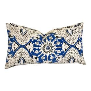 Quadrille China Seas Batik Blue Pillow For Sale
