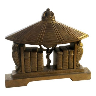 Vintage Art Deco Folding Metal Book Stand Book End For Sale