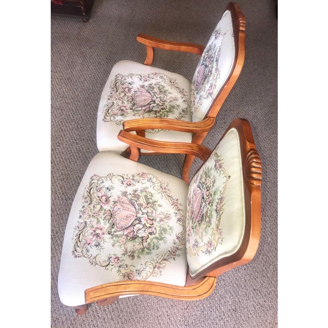 Fabric French Provincial Tapestry Salon Chairs - A Pair For Sale - Image 7 of 13