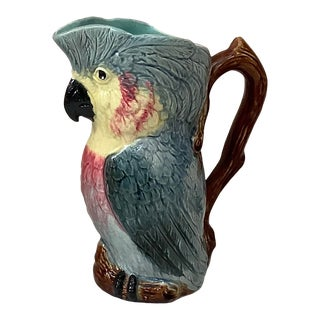 Antique Majolica Cacatoes Pitcher Orchies, Circa 1890 For Sale
