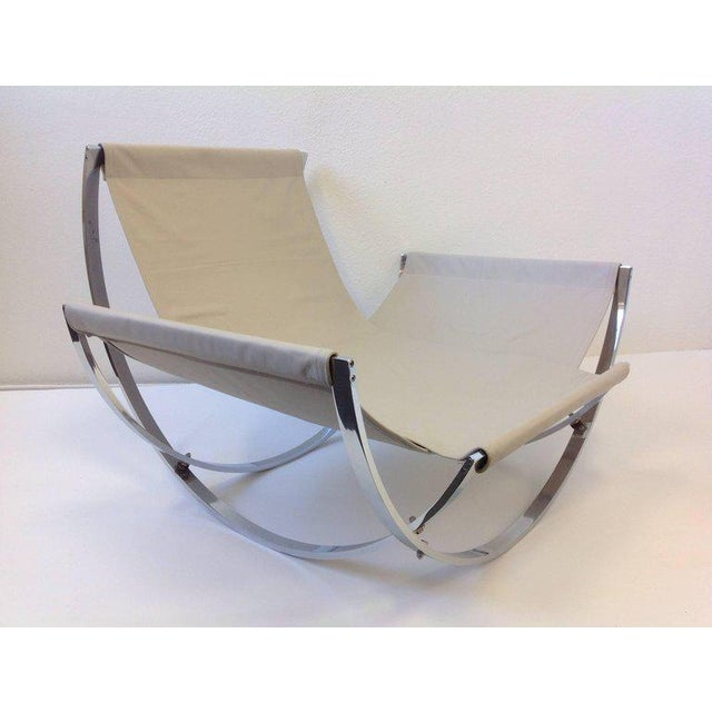 Italian Polish Stainless Steel and Leather Lounge Chair and Ottoman by Leonart Bender for Charlton Co. For Sale - Image 10 of 13