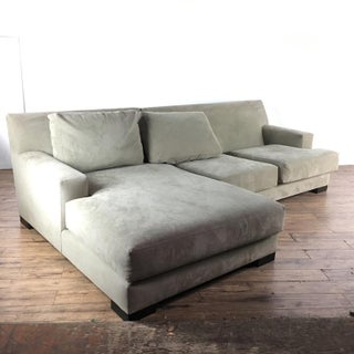 Nathan Anthony Contemporary Upholstered Suede Sectional Sofa Preview