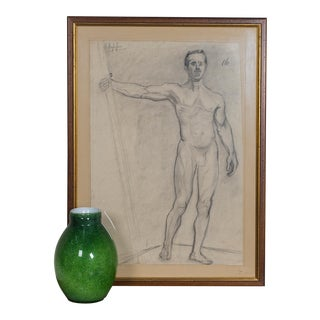 Late 19th century Antique French Academy Life Drawing For Sale